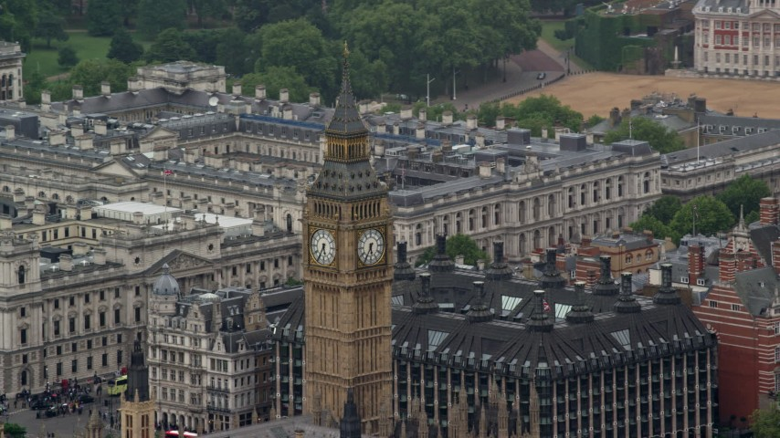 6K stock footage aerial video of orbiting Big Ben, London, England Aerial Stock Footage | AX115_106