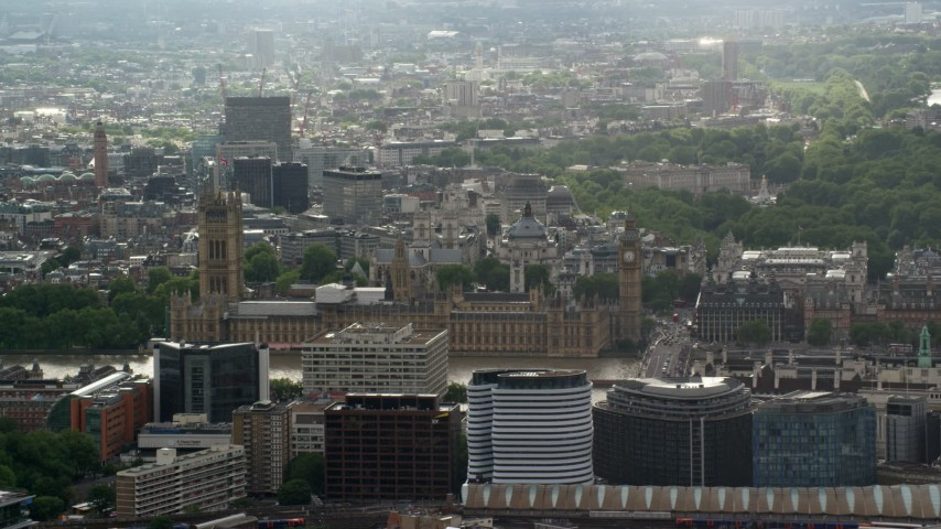 6K stock footage aerial video of a view of Big Ben and Parliament, London, England Aerial Stock Footage | AX115_109
