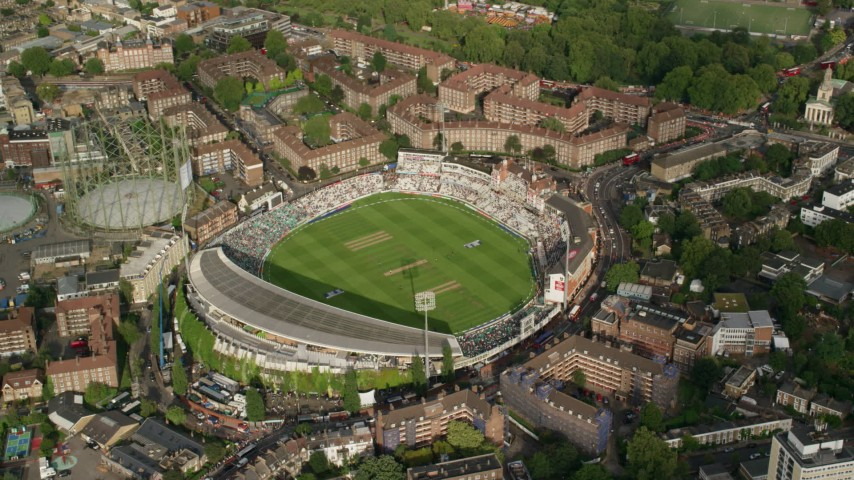 6K stock footage aerial video of orbiting The Oval cricket stadium, London, England Aerial Stock Footage AX115_144   Axiom Images