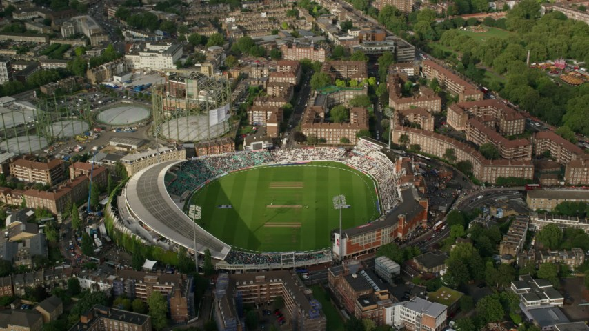 6K stock footage aerial video of circling the The Oval Stadium, London, England Aerial Stock Footage   AX115_145