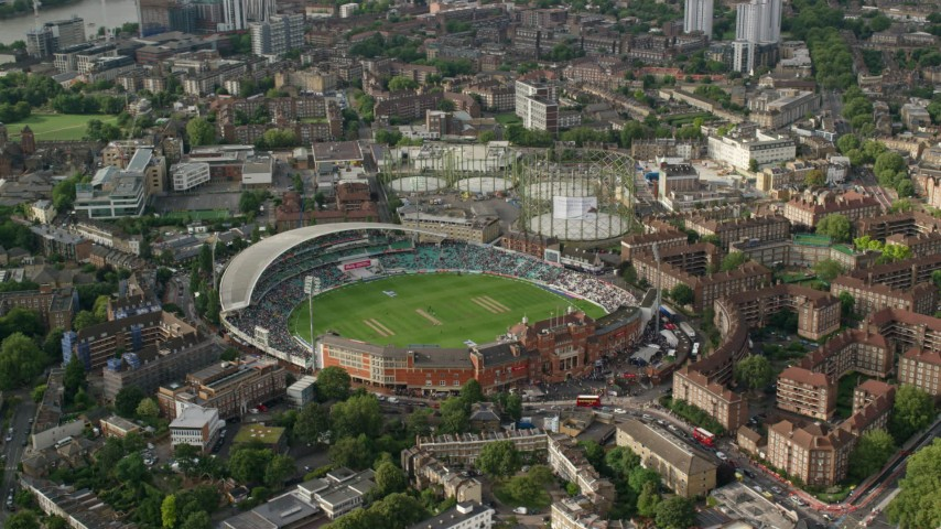 6K stock footage aerial video of an orbit of The Oval stadium, London, England Aerial Stock Footage   AX115_146