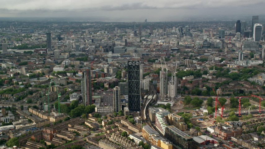 6K stock footage aerial video of an approach to the Strata skyscraper, London, England Aerial Stock Footage | AX115_149