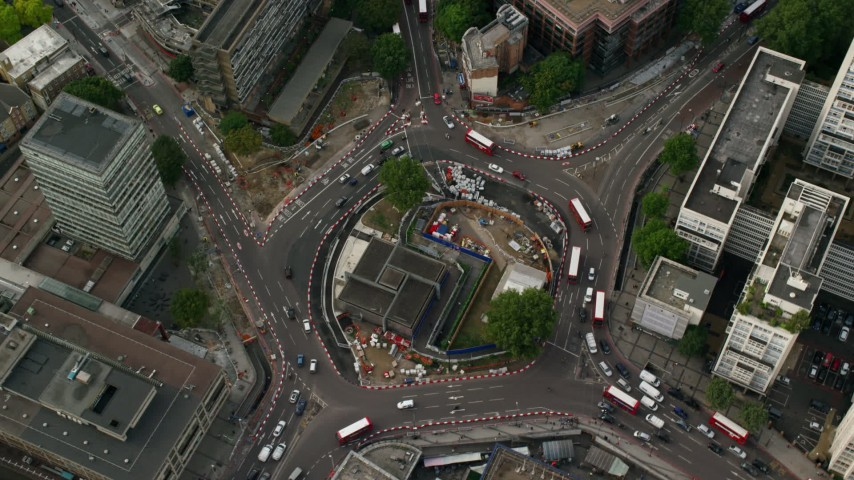 6K stock footage aerial video of a bird's eye of Elephant and Castle Roundabout, London, England Aerial Stock Footage AX115_152