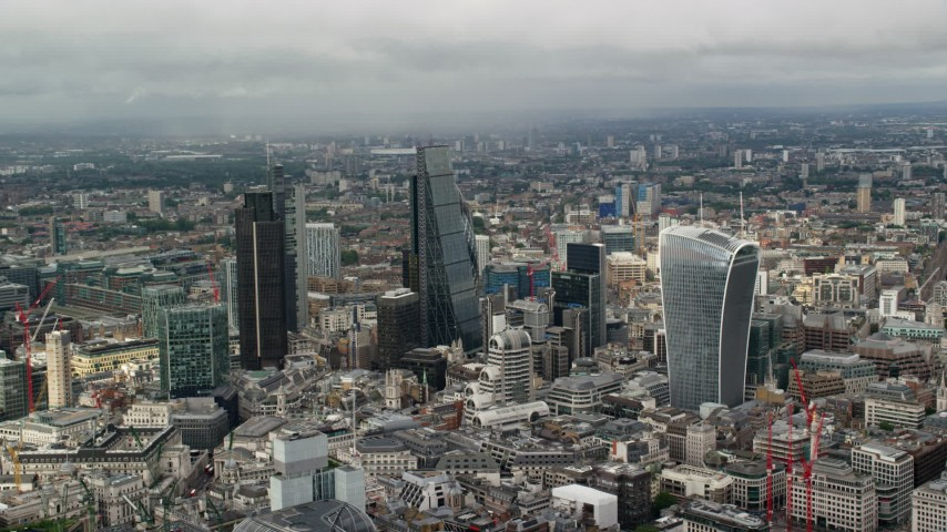 6K stock footage aerial video of skyscrapers among cityscape, Central London, England Aerial Stock Footage | AX115_155