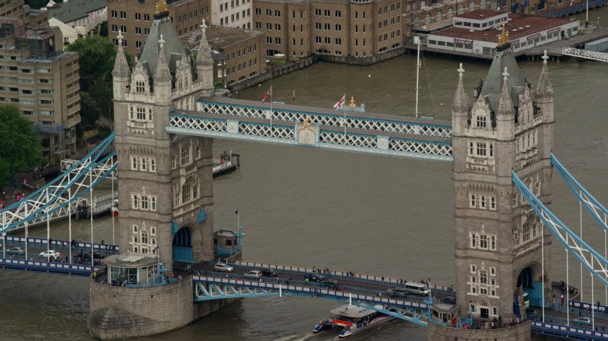 6K stock footage aerial video of a close orbit of the Tower Bridge, London, England Aerial Stock Footage | AX115_169