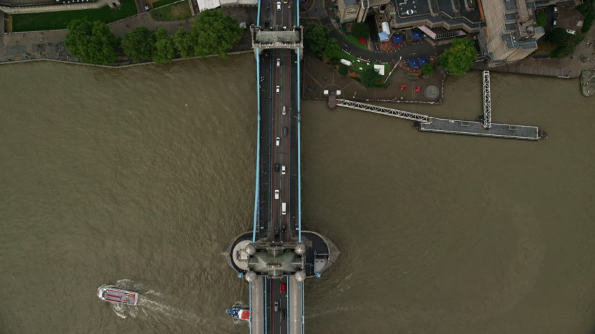 6K stock footage aerial video of a bird's eye of River Thames and Tower Bridge, London, England Aerial Stock Footage | AX115_175
