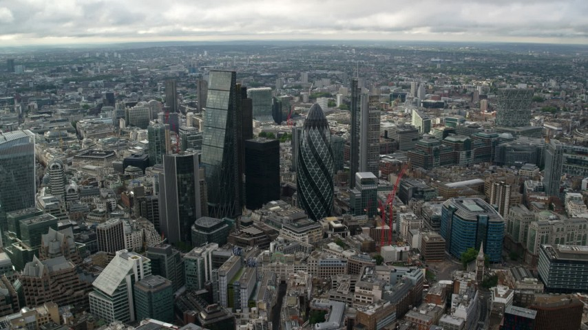 6K stock footage aerial video of approaching The Gherkin and skyscrapers, London, England Aerial Stock Footage | AX115_176
