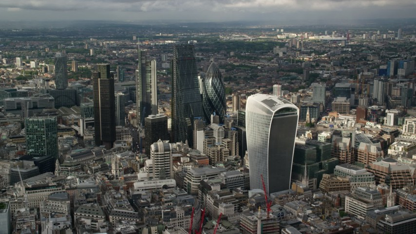 6K stock footage aerial video of approaching Central London skyscrapers, England Aerial Stock Footage | AX115_187