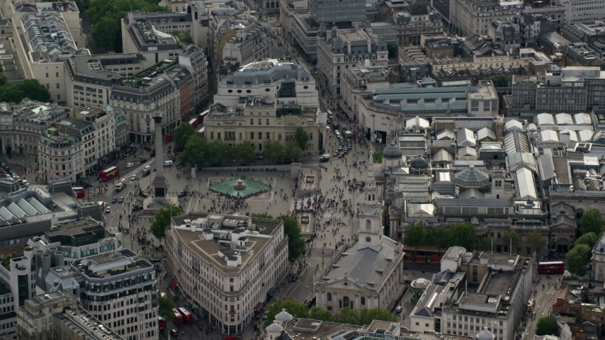6K stock footage aerial video of an orbit of Trafalgar Square and Canada House, London, England Aerial Stock Footage | AX115_206