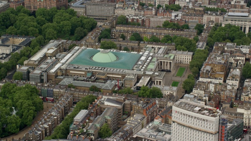 6K stock footage aerial video of British Museum, London, England Aerial Stock Footage | AX115_232