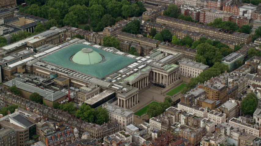 6K stock footage aerial video of orbiting the British Museum, London England Aerial Stock Footage | AX115_233
