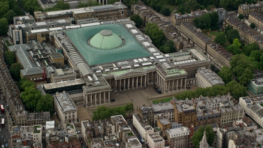 6K stock footage aerial video of an orbit of the British Museum, London, England Aerial Stock Footage AX115_234 | Axiom Images