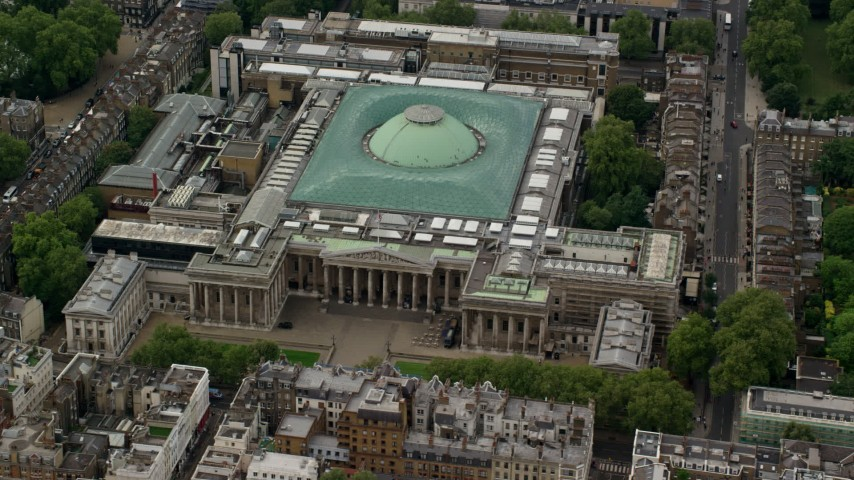 6K stock footage aerial video of the front entrance to the British Museum, London, England Aerial Stock Footage | AX115_235