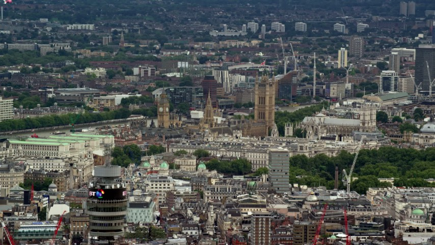 6K stock footage aerial video of Big Ben, Parliament and the top of BT Tower in London, England Aerial Stock Footage | AX115_242