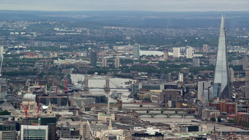 6K stock footage aerial video of Tower Bridge over the Thames, The Shard and cityscape, London, England Aerial Stock Footage | AX115_243