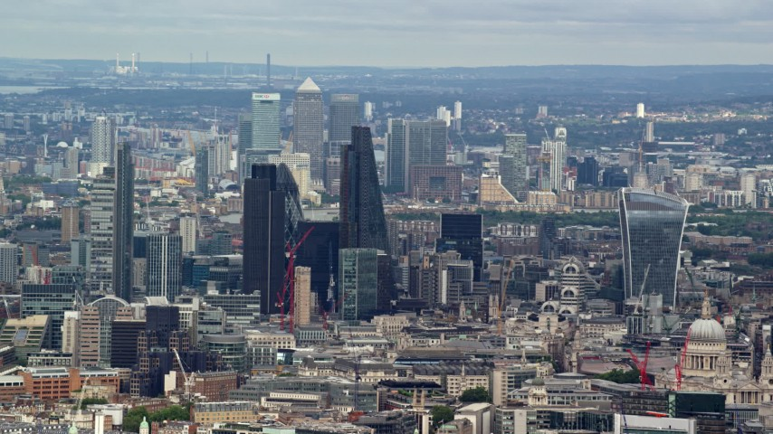 6K stock footage aerial video of Canary Wharf and Central London skyscrapers, England Aerial Stock Footage   AX115_244