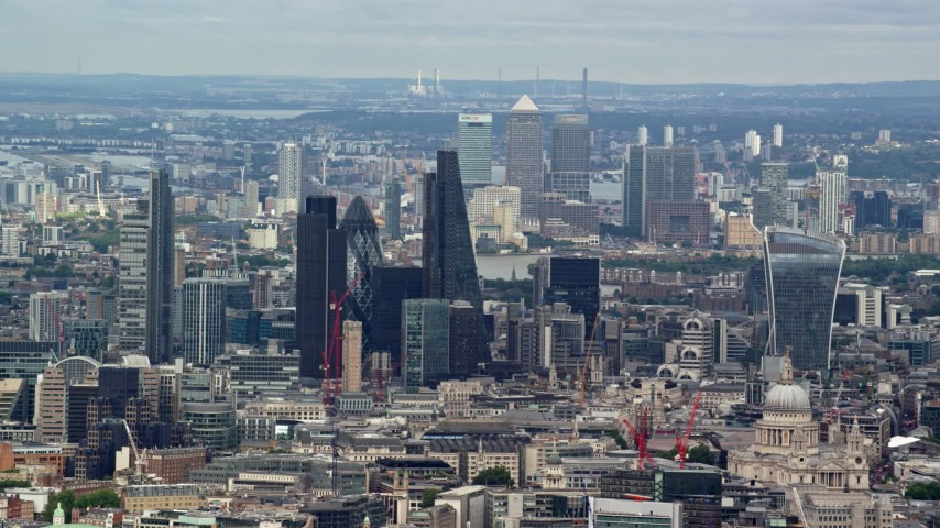 6K stock footage aerial video wide view of skyscrapers in Central London and Canary Wharf, England Aerial Stock Footage | AX115_245
