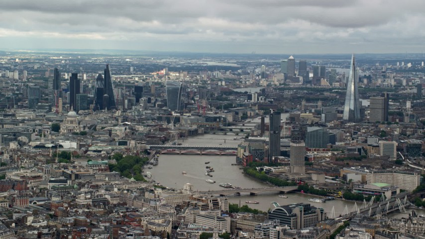 6K stock footage aerial video of a wide view of the cityscape, from Central London to Shard by River Thames, England Aerial Stock Footage | AX115_250