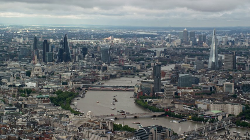 6K stock footage aerial video of Central London skyscrapers, the River Thames, The Shard, England Aerial Stock Footage | AX115_251