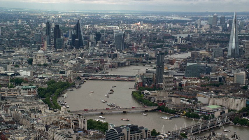 6K stock footage aerial video of Central London skyscrapers and bridges over the Thames, England Aerial Stock Footage | AX115_252