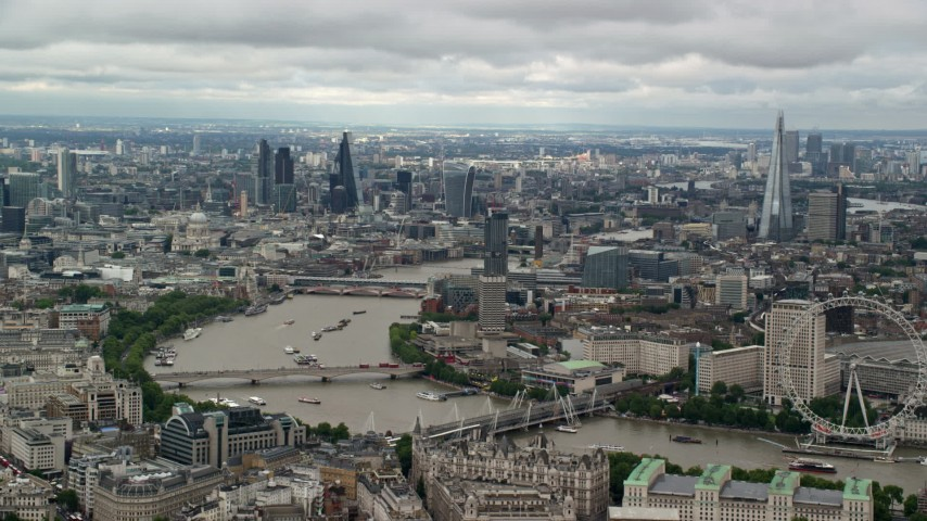 6K stock footage aerial video of a wide view of Central London, The Shard, London Eye and Thames, England Aerial Stock Footage | AX115_253