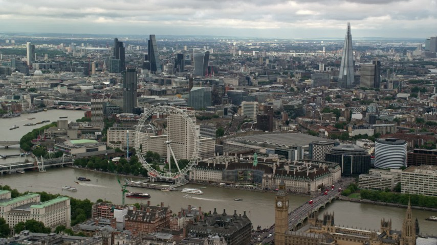 Central London and  London Eye, England Aerial Stock Footage | AX115_255