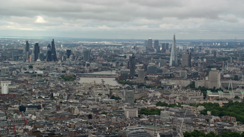 6K stock footage aerial video a wide view of the London cityscape seen from Westminster, England Aerial Stock Footage | AX115_260