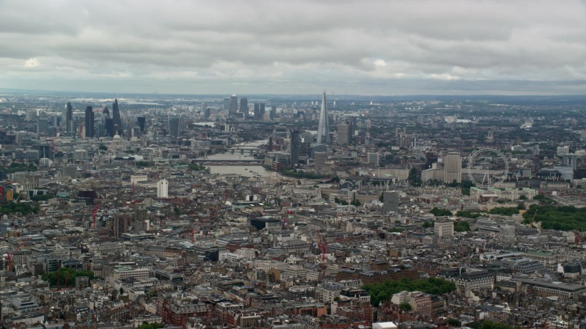 6K stock footage aerial video of a wide view across the city of London, England Aerial Stock Footage | AX115_261