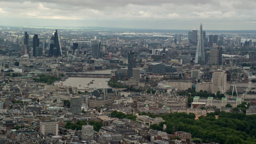 Central London Cityscape, England Aerial Stock Footage | AX115_263
