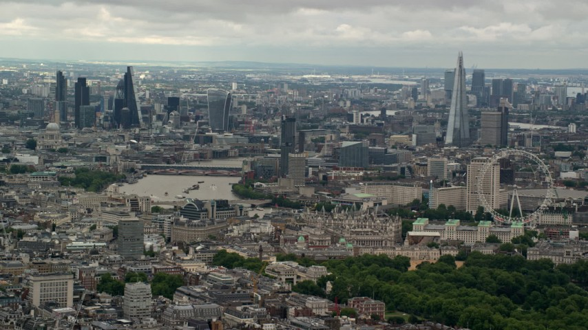 6K stock footage aerial video of a wide view across the city, London, England Aerial Stock Footage | AX115_263