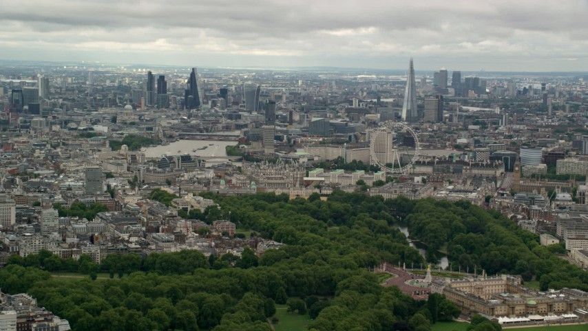 6K stock footage aerial video the London cityscape seen from Buckingham Palace, England Aerial Stock Footage | AX115_264