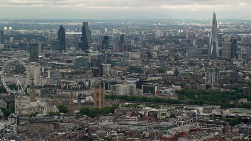 6K stock footage aerial video of a view of London from near London Eye and Parliament, England Aerial Stock Footage | AX115_269