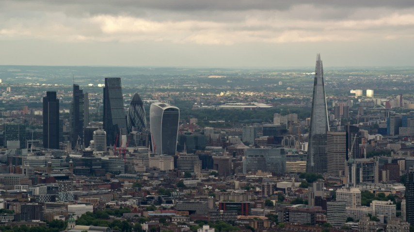 6K stock footage aerial video of Central London skyscrapers and The Shard, England Aerial Stock Footage | AX115_273