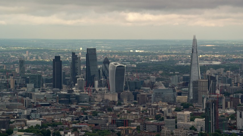 6K stock footage aerial video of skyscrapers in Central London near The Shard, England Aerial Stock Footage | AX115_274