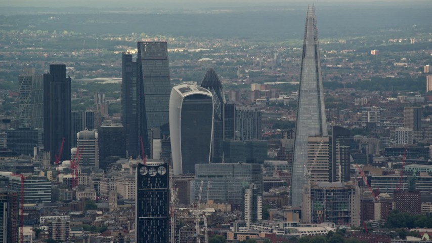 6K stock footage aerial video of a view of Central London skyscrapers, The Shard and Strata, England Aerial Stock Footage | AX115_277