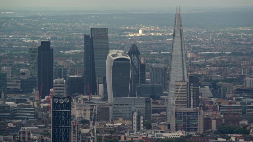 Central London Skyscrapers, The Shard and Strata, England Aerial Stock Footage | AX115_278