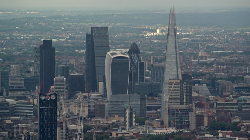 6K stock footage aerial video of skyscrapers in Central London near The Shard and Strata, England Aerial Stock Footage | AX115_278