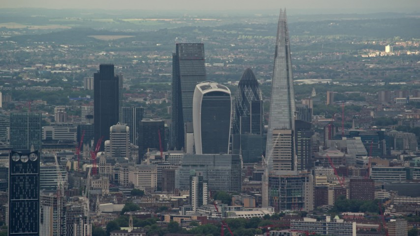 6K stock footage aerial video of tall Central London Skyscrapers near The Shard, England Aerial Stock Footage | AX115_279