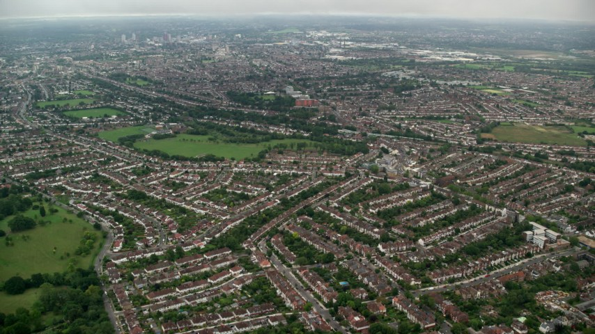 6K stock footage aerial video fly over residential neighborhoods near Norbury Park, London, England Aerial Stock Footage | AX115_282