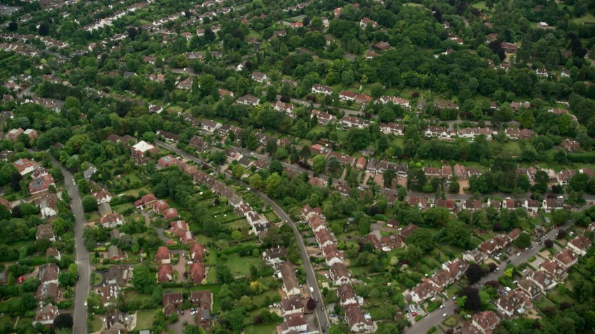 6K stock footage aerial video fly over suburban neighborhoods, Purley, England Aerial Stock Footage | AX115_295