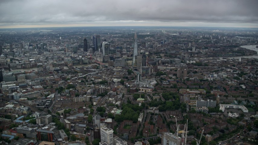 6K stock footage aerial video of flying by skyscrapers and Central London cityscape, England, twilight Aerial Stock Footage | AX116_008