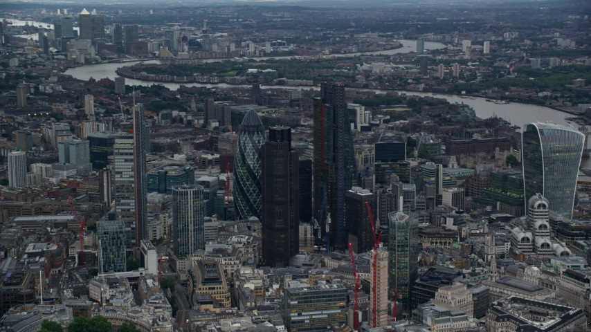 6K stock footage aerial video orbit Central London skyscrapers, reveal 20 Fenchurch Street, London, England, twilight Aerial Stock Footage | AX116_012