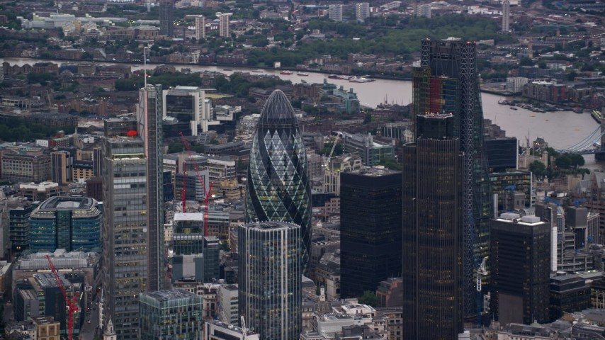 6K stock footage aerial video of orbiting Central London skyscrapers, London, England, twilight Aerial Stock Footage | AX116_013