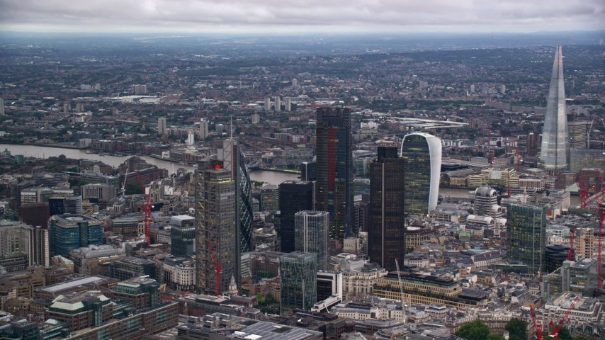 6K stock footage aerial video orbit skyscrapers, The Shard near River Thames, London, England, twilight Aerial Stock Footage | AX116_015