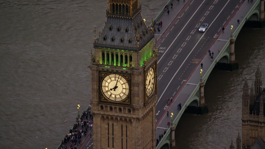 6K stock footage aerial video of an orbit of Big Ben by the River Thames, London, England, twilight Aerial Stock Footage | AX116_064