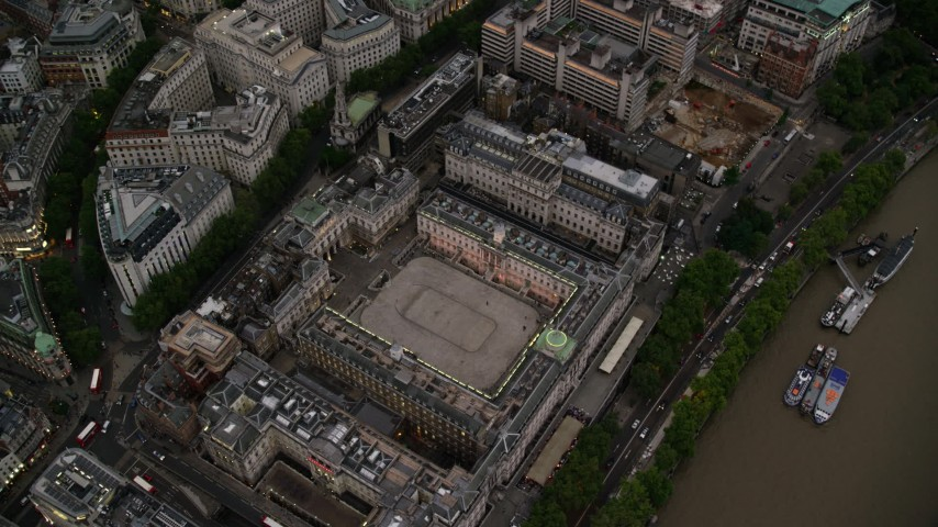 6K stock footage aerial video of a bird's eye view of Somerset House in London, England, twilight Aerial Stock Footage | AX116_079