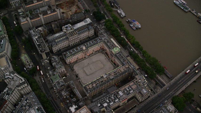 6K stock footage aerial video of orbiting Somerset House, London, England, twilight Aerial Stock Footage | AX116_080