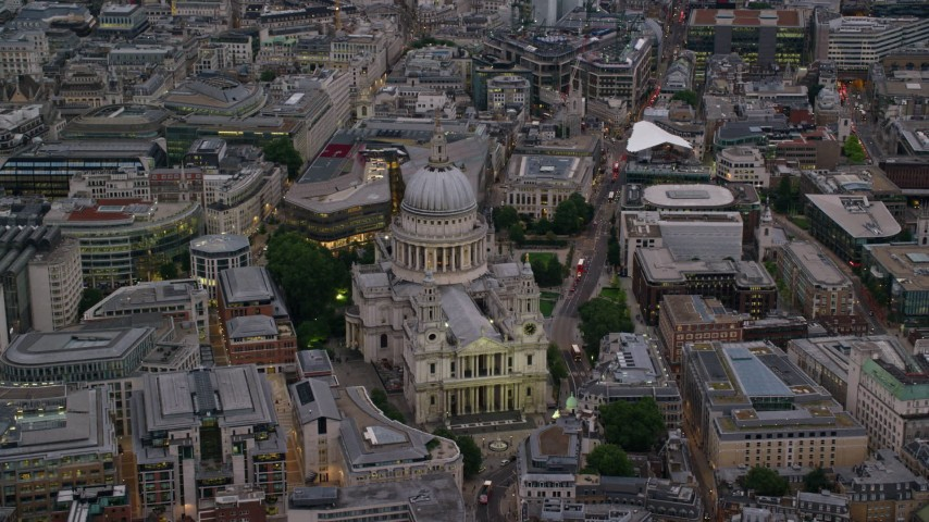 6K stock footage aerial video of approaching St Paul's Cathedral, London, England, twilight Aerial Stock Footage | AX116_082