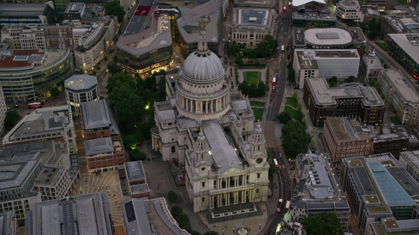 6K stock footage aerial video approach St Paul's Cathedral in London, England, twilight Aerial Stock Footage | AX116_083