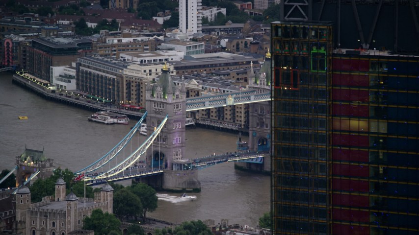 6K stock footage aerial video flyby 122 Leadenhall Street to reveal Tower Bridge and River Thames, London, England, twilight Aerial Stock Footage | AX116_088